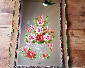 Victorian Etched Painted Mirror