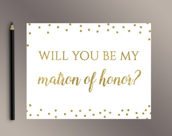 Will You be My Matron of Honor Cards, Gold Matron of Honor proposal card, Bridesmaid Invite, Ask Matron of Honor, Wedding Invitation