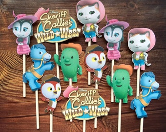 SHERIFF CALLIE'S Cupcake Toppers / Cake Toppers / Die Cuts / Birthday Party / Decorations / Cake Pops / Supplies / Decor / Fast Shipping!