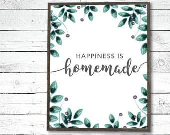 Happiness is Homemade Printable - Farmhouse Sign, Family Quote, Home Quote, Housewarming Gift, Watercolor Laurel