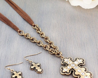 Cross necklace and earing set