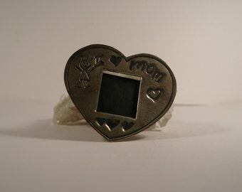 EFS Mexico silver  I Love Mom photo frame brooch
