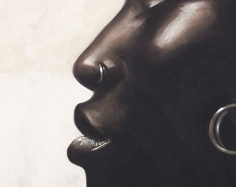 African Girl with Nose Ring By Laurie Cooper,Canvas Art,(20x27) Black Art,African American art,Prints,Poster.