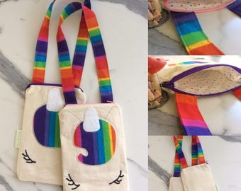 Small Rainbow Unicorn Crossbody Shoulder Bag  Cotton rainbow spots lining zip close applique and embrodery decoration gift under 50