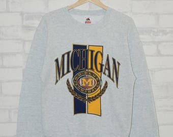 Vintage 90s 1992 Michigan Football NFL Rugby Jumper Pullover Sweater Sweatshirts