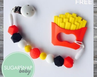 Custome order with name Henri - French Fry Teether - silicone teether - baby toy - newborn gift - baby personalized - Toddler Teether - Chew