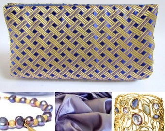 Gold and Lavender Silk Brocade Clutch Purse, Mother of the Bride Purple Bag, Elegant Chinese Gold Brocade Clutch, Unique Classy Prom Purse