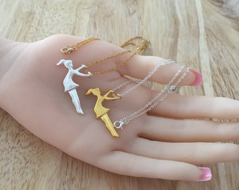 Swing Girl Necklace, Dainty Necklace, Gold Girl On Swing, Silver Swinging Girl, Girl On Swing Charm, Hanging Girl, Gymnastic Jewelry