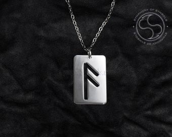 Ansuz Rune Pendant Viking Symbol Stainless Steel Jewelry God Rune Necklace Keychain Logo A Rune Emblem Elder Futhark Amulet Talisman Sign