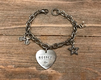 CUSTOMIZABLE charm bracelet in steel with handmade Personalized engraving