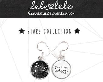 Earrings with zodiac signs and constellations