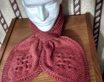 Hand Knit Keyhole Scarf Ascot Neck Warmer with Celtic/Aran Cables