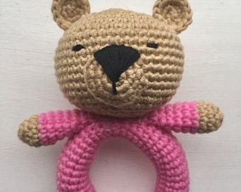 Bear amigurumi baby rattle toy