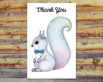 Printable Thank You Card, Cute Squirrel Card, Digital Download Art, Instant Download, Blank Card, Printable Greeting Card, Digital Card