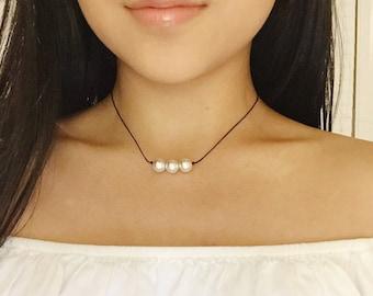 Triple Pearl Choker, Pearl Necklace, Dainty, Delicate, Feminine, Minimal, Simple