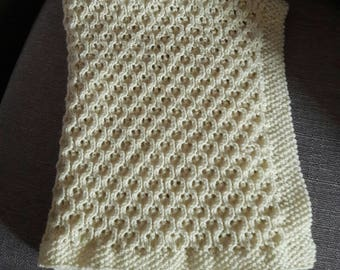 Cream Honeycomb Baby Blanket 50% Merino Wool