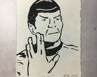 LLAP, Mr. Spock - original linocut