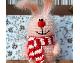 Crochet pink bunny with scarf, miniature rabbit, small bunny toy, pink stuffed rabbit, crochet decoration toy, plush bunny