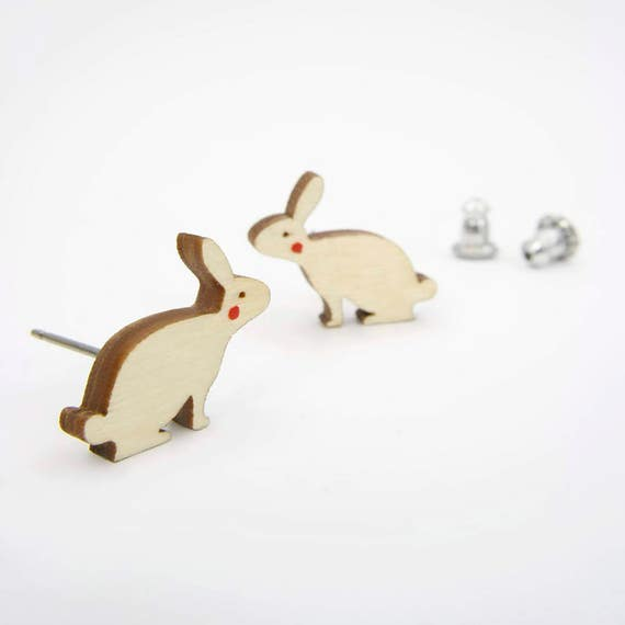 Modern Birch Bunny Rabbit Earring