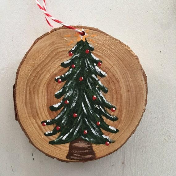 Rustic Tree Wood Ornament - Christmas Ornament - Wood Slice hand Painted Ornament