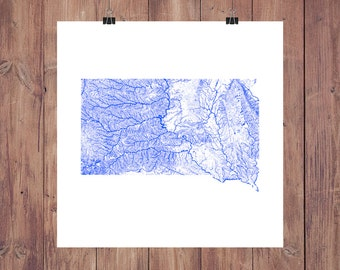 South Dakota Map - High Res Map of South Dakota Rivers / South Dakota Print / South Dakota Art / South Dakota Gift / South Dakota Wall Art