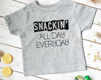 Snackin Shirt - Boys Tshirt - Snack Shirt - Little Boys Shirt - Hipster Boy Shirt - Boys Shirt - Toddler shirt - Funny Toddler Shirt