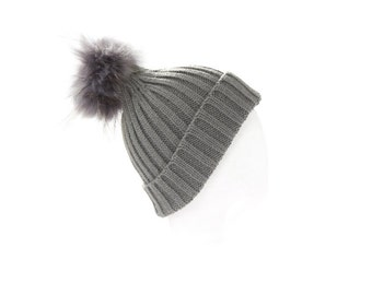 REDUCED! Choose Color *Child* Ribbed Wool Fur pom pom hat