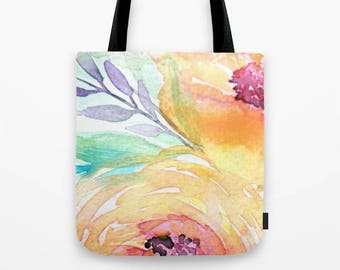 """SMALL TOTE BAG Watercolor flowers """"Yellow Roses"""" Tote Bag, 13x13 inch Bag, Roses, Market Tote, Floral Gift, Flowers, Spring"""