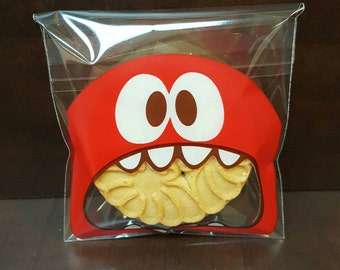 """Red mini """"Monster"""" cookie/treat bags. Set of 10, Color Red.FREE SHIPPING"""