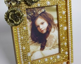 Princess Picture Frame, Photo Frame 4 x 6 inches (10.16 x 15.24 cm), Princess picture frame, Beads Frame, Rhinestones Frame