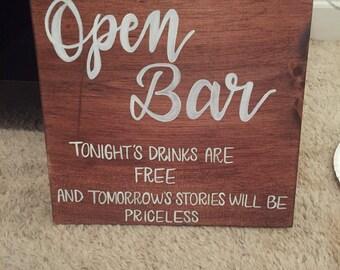 Open Bar Wedding Sign