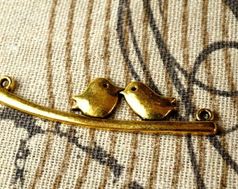 Love birds sat on a branch 10 gold charms vintage style jewellery supplies C100