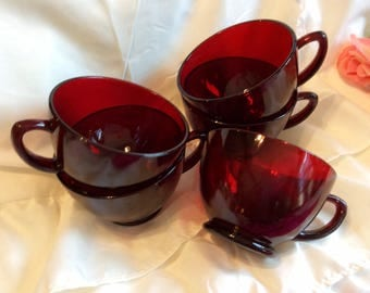 Ruby Red glass cups, set of five (5)