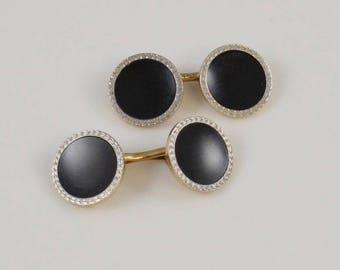 14k Two Toned Estate Art Deco Onyx Cufflinks(01044)