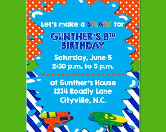 Water Gun Birthday Party Invitation