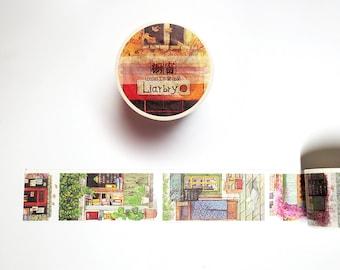 Library Washi Tape, Books Reading Washi Roll, Bookworm Masking Tape, Original Illustration Deco Tape
