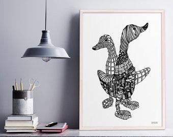 Two Ducks, Intricate Pen & Ink Illustration