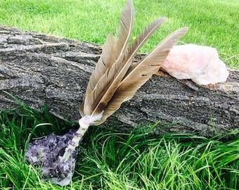 Turkey Vulture Feather Smudge Fan: Bénir Esprit