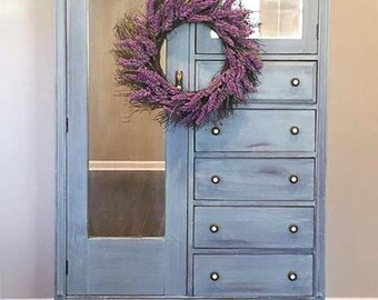 SOLD - Hand Painted Rustic Chifforobe/Wardrobe - Blue - Solid Wood