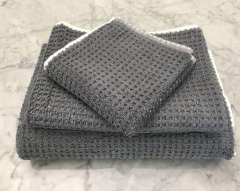 Waffle Dk Gray Turkish Bath Towels