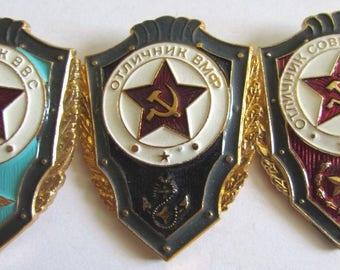 Rare Lot/Set 3 pcs Soviet/USSR Military badges - EXCELLENT ARMY