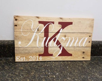 Last Name Wood Sign, Family Name Sign, Pallet Wood Sign, Personalized Wood Sign, Custom Name Sign, Established  Sign, Wedding Gift,