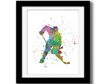 Hockey Wall Art Digital Download - Rainbow Watercolor Wall Art Decor - Hockey Wall Art - Hockey Print - Hockey Watercolor Paint Splatter Art