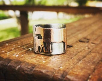 Sterling and Copper Cow/Calf Ring
