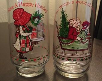 Set of 2 Vintage Holly Hobbie Merry Christmas Glasses.