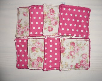 set of 8 wipes washable cotton polka dots and flowers and sponge fuchsia 9.5 cm x 9.5 cm
