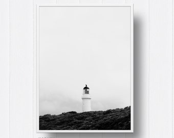 Beach, Coastal, Ocean,Lighthouse, Black and white,Monochrome, Photography, Digital Prints, Digital download, Prints,