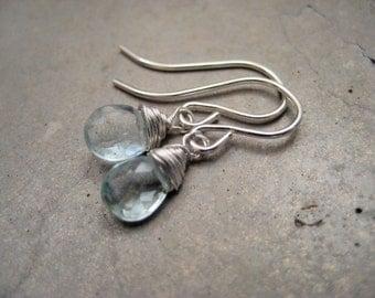 Aquamarine gemstone earrings, wire wrapped aquamarine earrings, sterling silver gemstone earrings, petite earrings, dainty earrings, SoYou