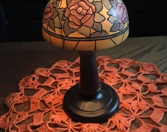 Vintage rose painted glass tea light lamp