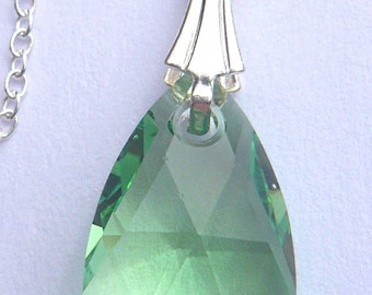 Sterling Silver Peridot Light Green 16mm Pear Teardrop Crystal Pendant Chain Necklace made with Swarovski Elements - gift for her wedding